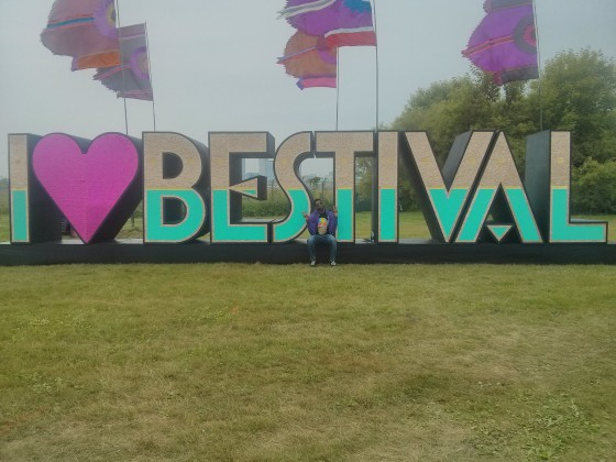 The iconic 'I <3 BESTIVAL' sign, in the middle of the island.