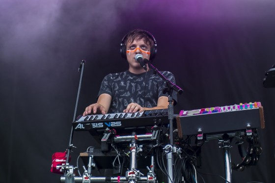 Robert Delong, singing as he performs on the main stage.