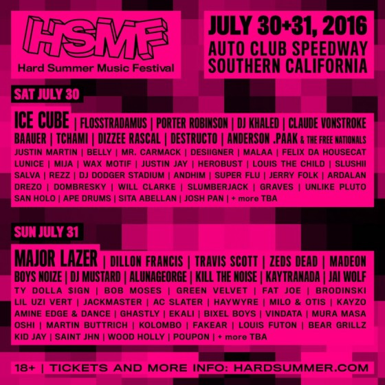 Hard Summer Music Festival 2016 Lineup